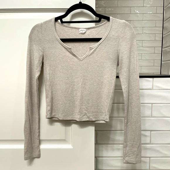Long Sleeved White Aritzia Shirt (crop top)